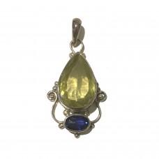 Peridot and Kunzite jem stone pendant