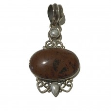 Agate and Pearl jemstone set In Sterling Silver