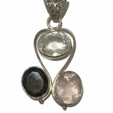Clear Quart, Rose Quartz and Smoky Quartz Jemstone set in Sterling Silver