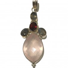 Rose Quart, Ruby Jemstone set in Sterling Silver