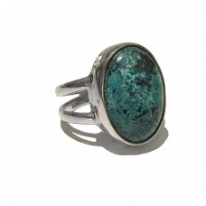 Chrysocolla Jem Stone set in Sterling Silver (size 11)