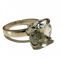 Diamond cut  Green Amethyst set in Sterling Silver (Size 9)