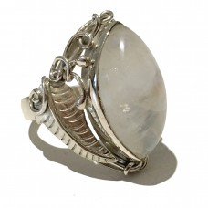 Moonstone jemstone set in Sterling Silver (size 10)