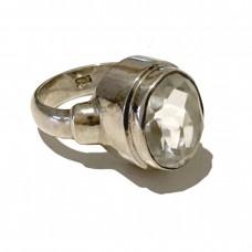 Diamond cut  Green Amethyst set in Sterling Silver (size 10)