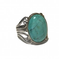 Chrysocolla Jem Stone set in Sterling Silver ( size 11)